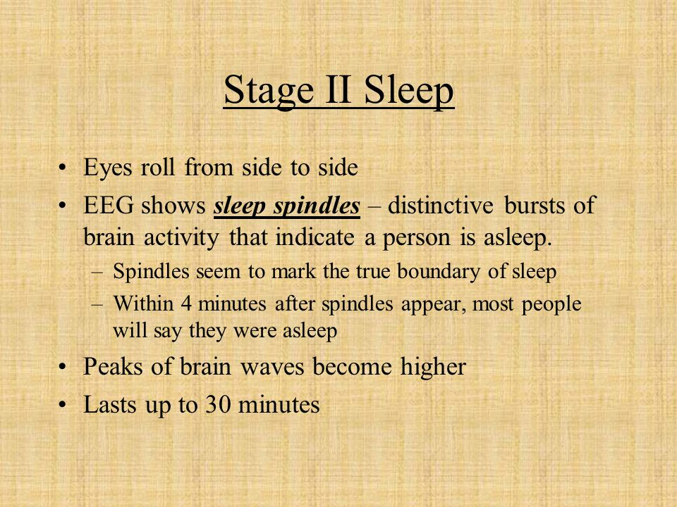 Stage II Sleep Eyes roll from side to side