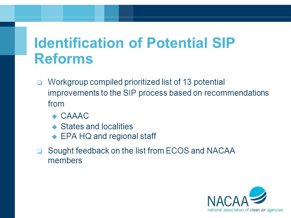 Identification of Potential SIP Reforms