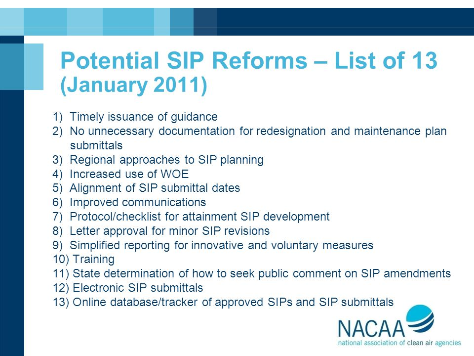 Potential SIP Reforms – List of 13 (January 2011)