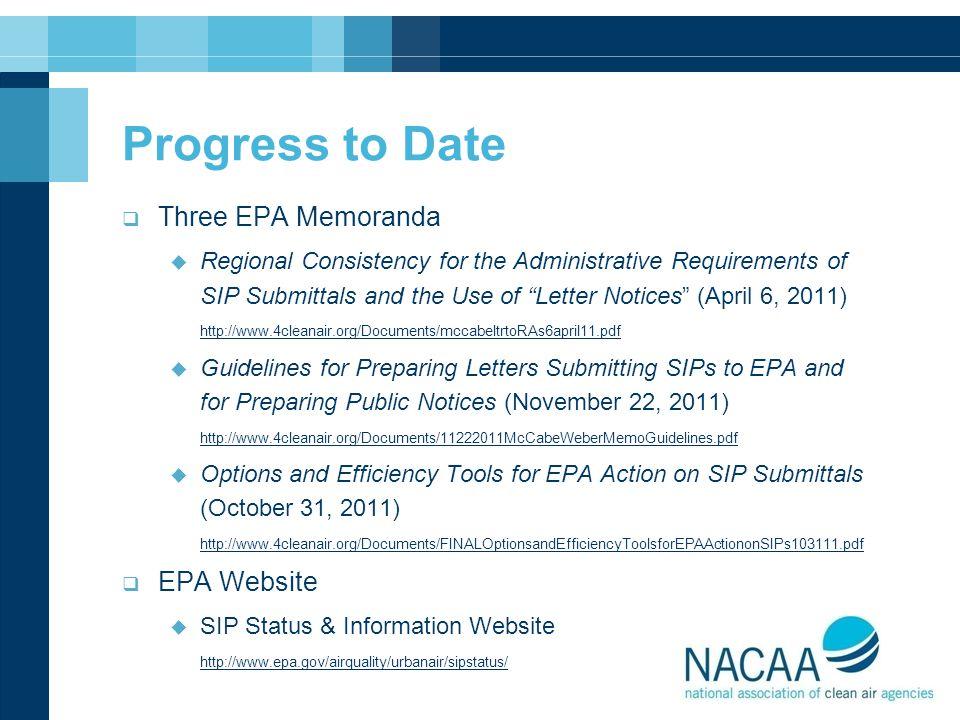 Progress to Date Three EPA Memoranda EPA Website