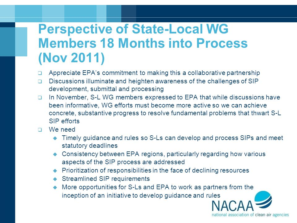 Perspective of State-Local WG Members 18 Months into Process (Nov 2011)