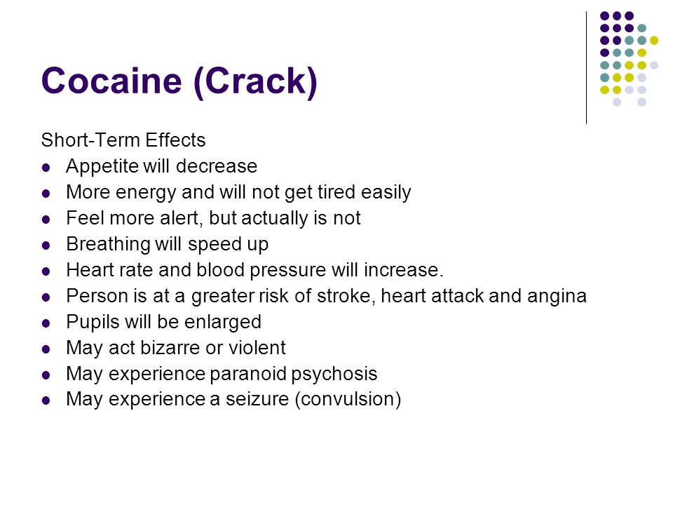 Cocaine (Crack) Short-Term Effects Appetite will decrease