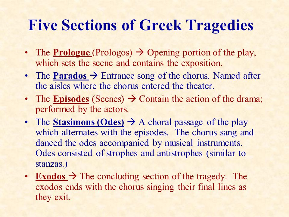 Five Sections of Greek Tragedies
