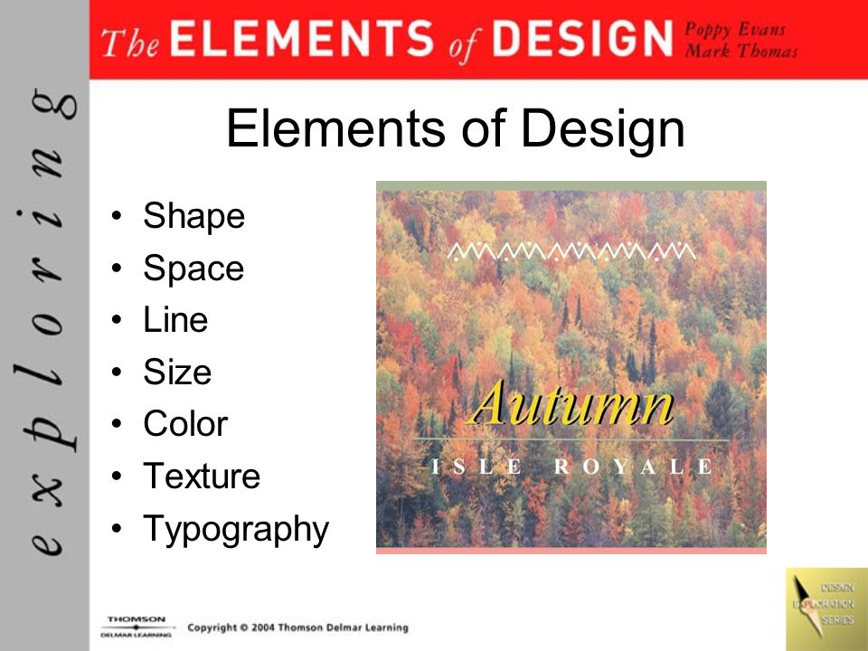 Elements of Design Shape Space Line Size Color Texture Typography