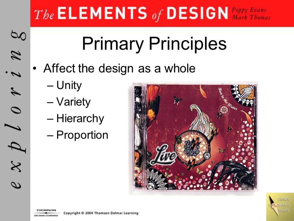 Primary Principles Affect the design as a whole Unity Variety