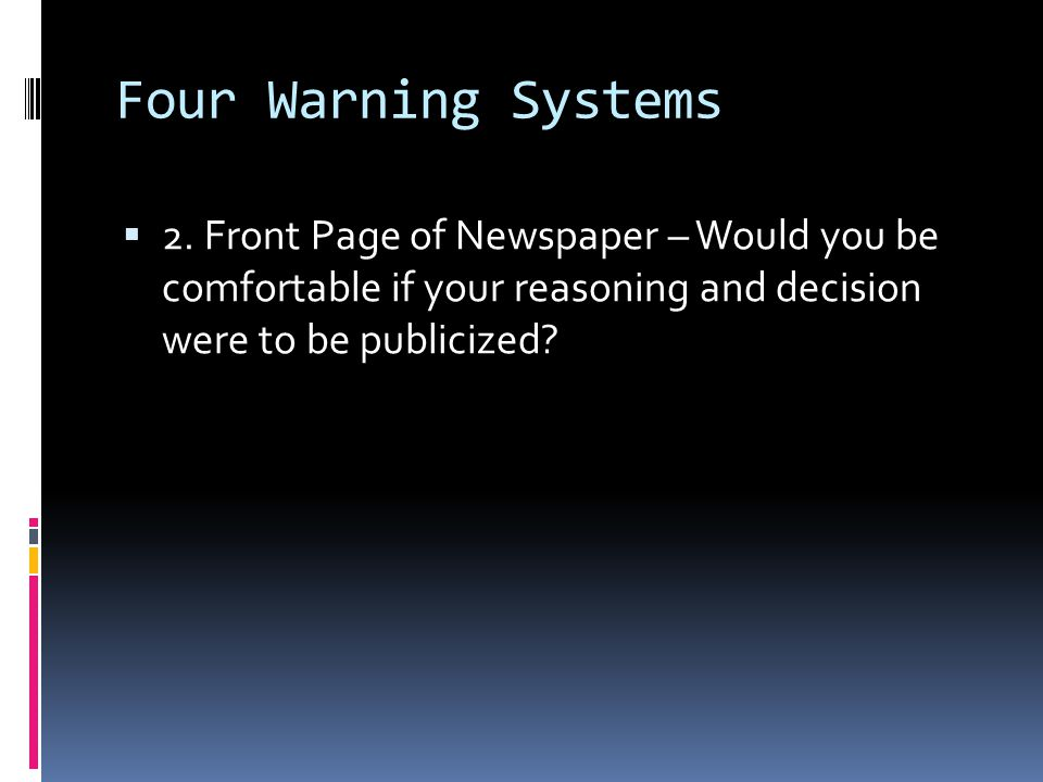 Four Warning Systems 2.