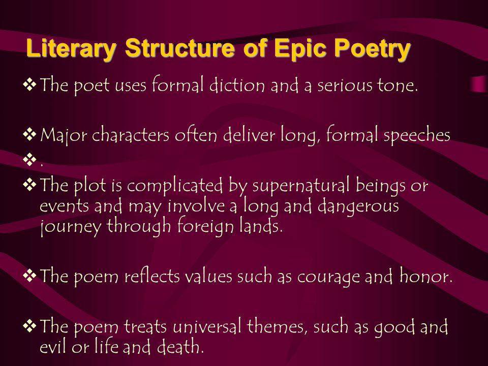 Literary Structure of Epic Poetry