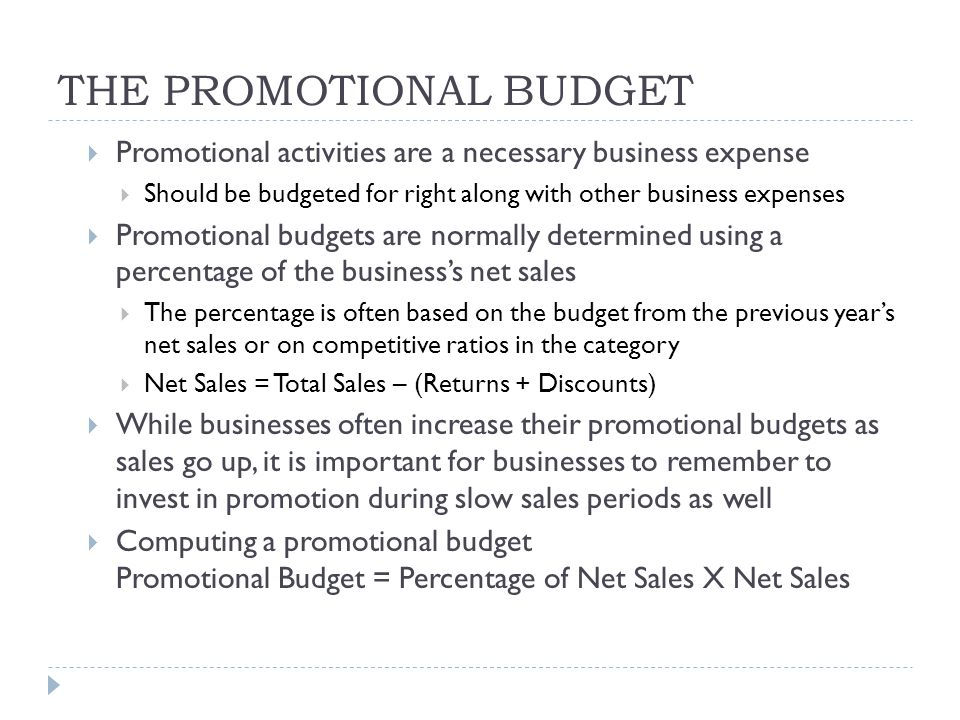 THE PROMOTIONAL BUDGET
