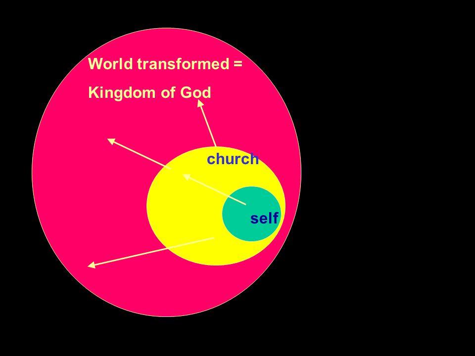 World transformed = Kingdom of God church self