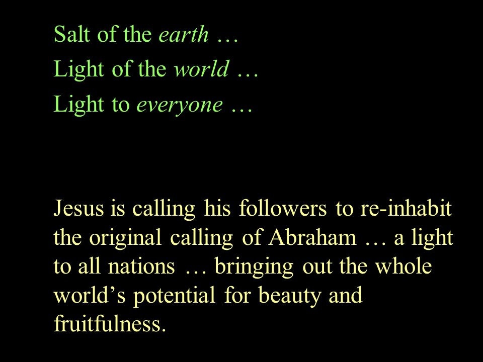 Salt of the earth … Light of the world … Light to everyone …