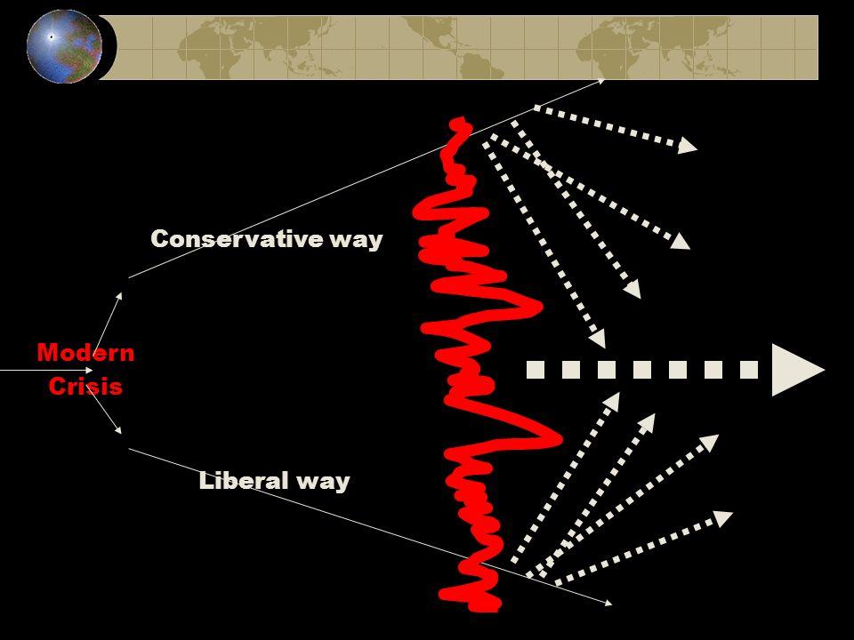 Conservative way Modern Crisis Liberal way
