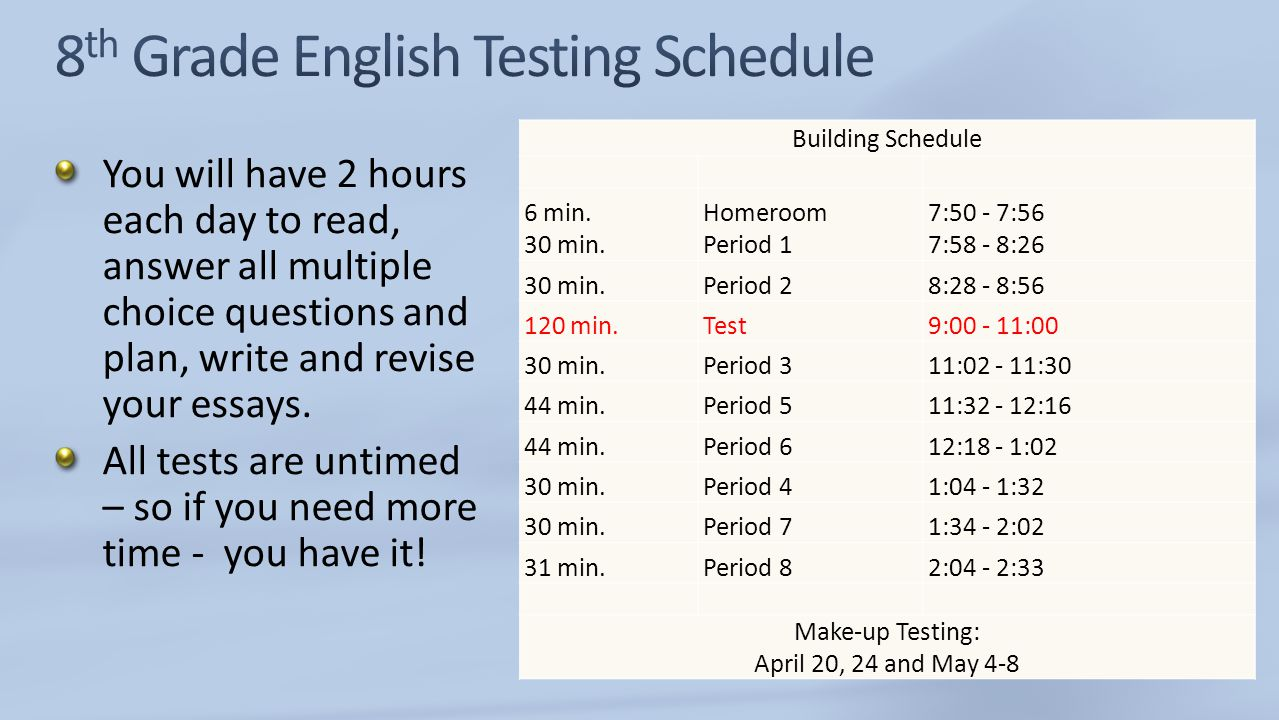 8th Grade English Testing Schedule