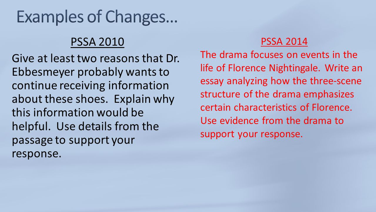 Examples of Changes… PSSA 2014.