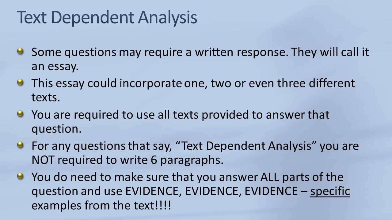 Text Dependent Analysis