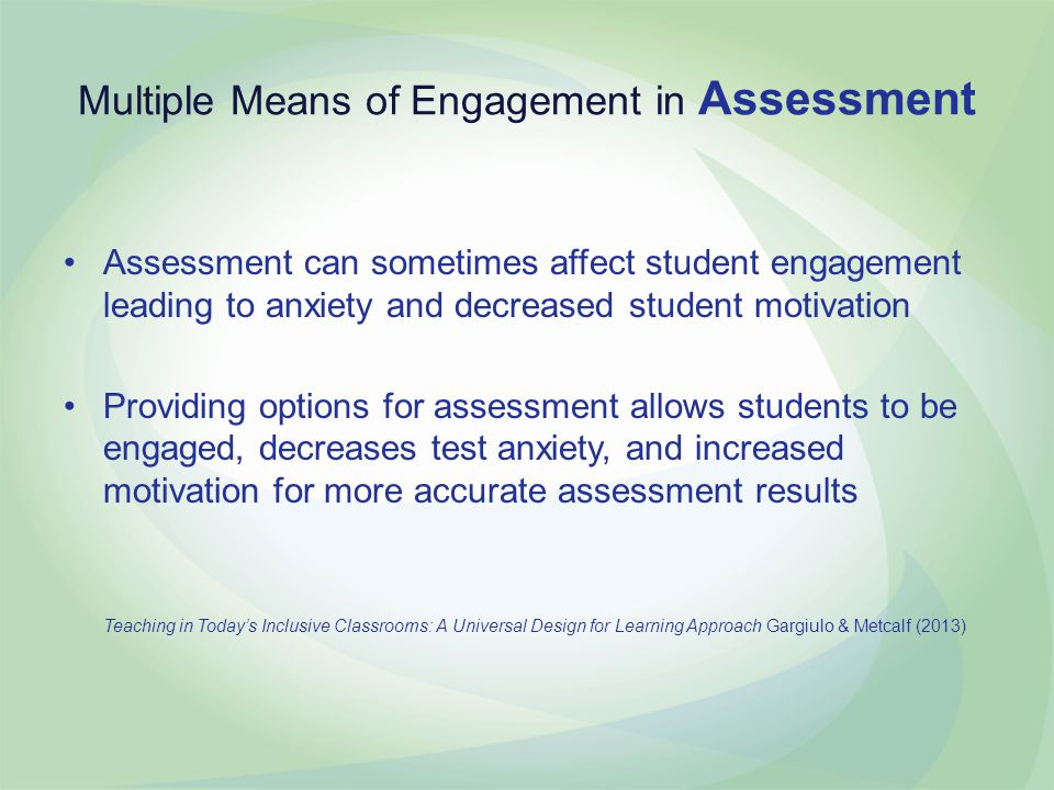 Multiple Means of Engagement in Assessment