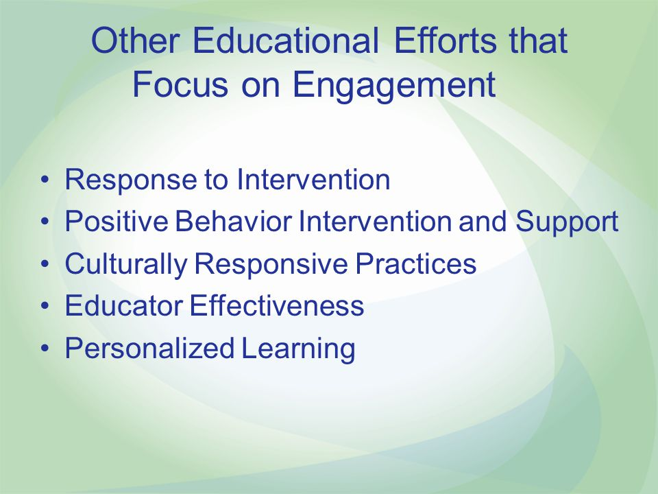 Other Educational Efforts that Focus on Engagement