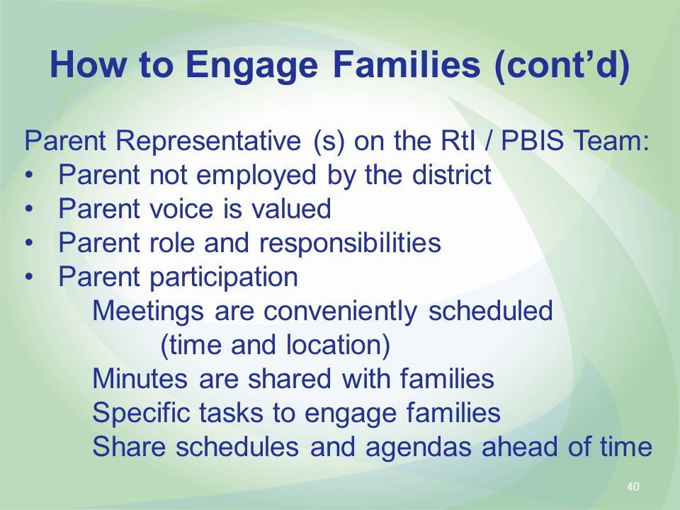 How to Engage Families (cont'd)