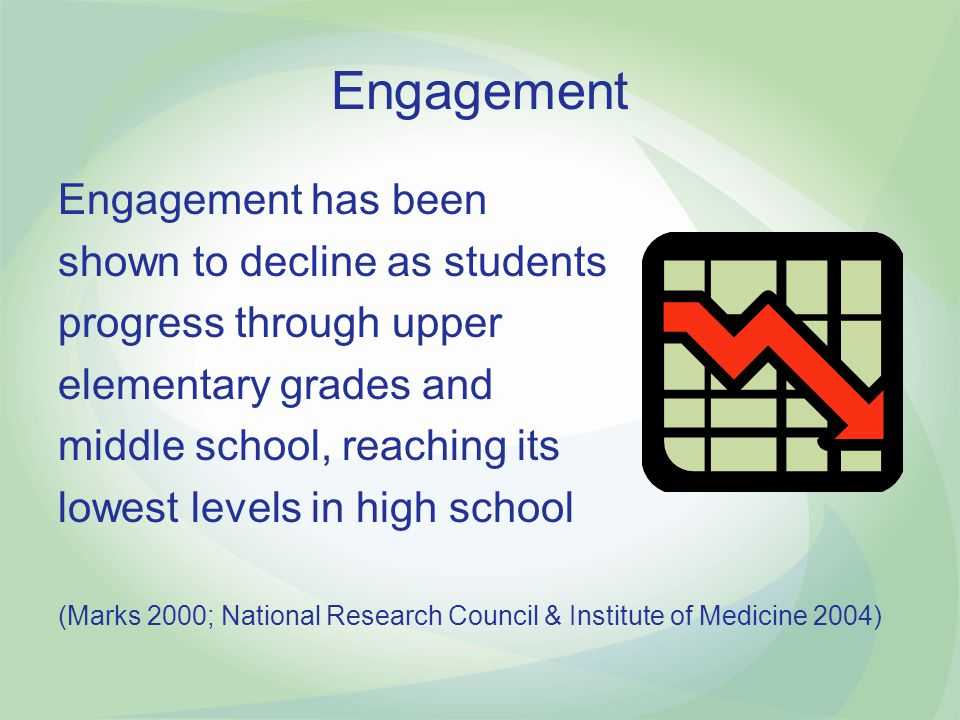 Engagement Engagement has been shown to decline as students