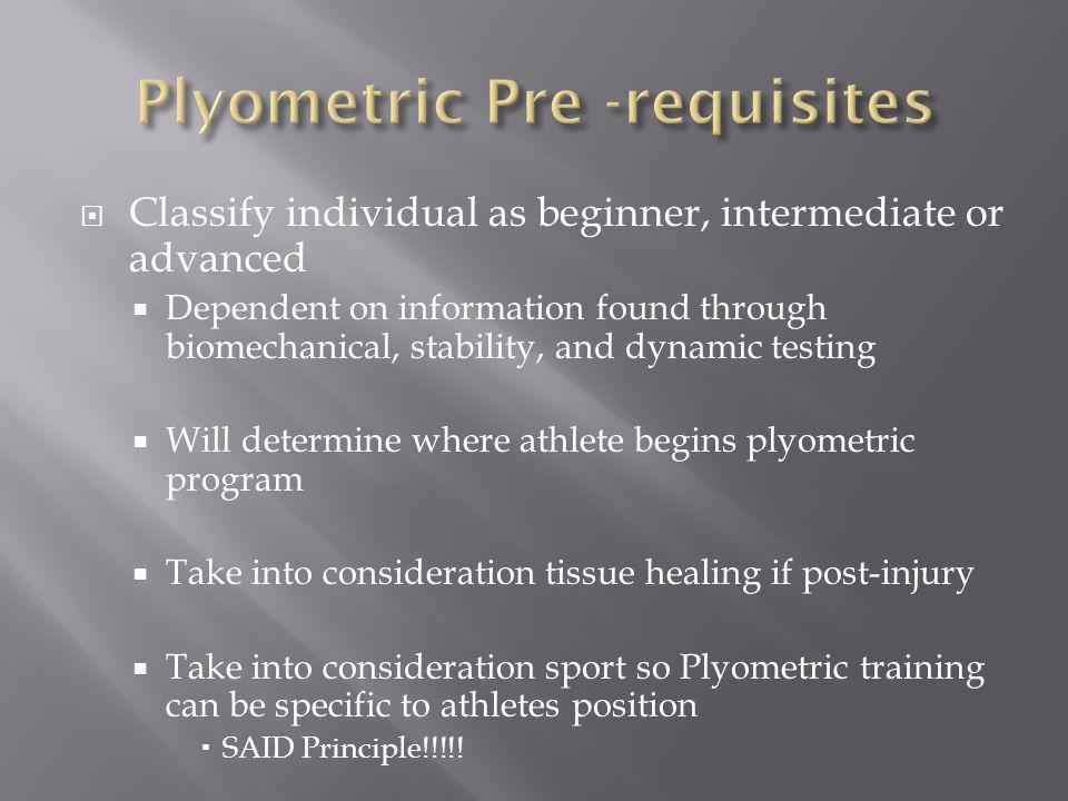 Plyometric Pre -requisites