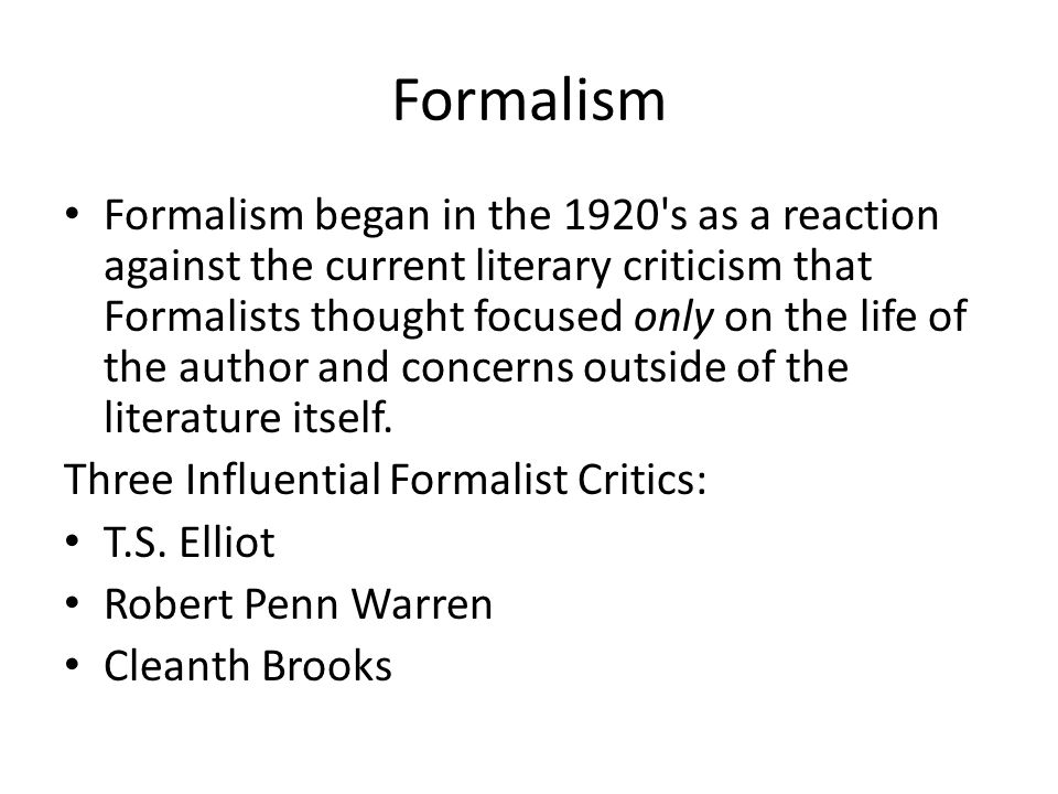 Formalistic Criticism - Poetry Analysis