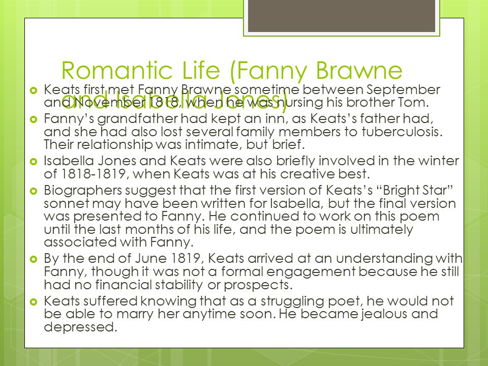 Romantic Life (Fanny Brawne and Isabella Jones)
