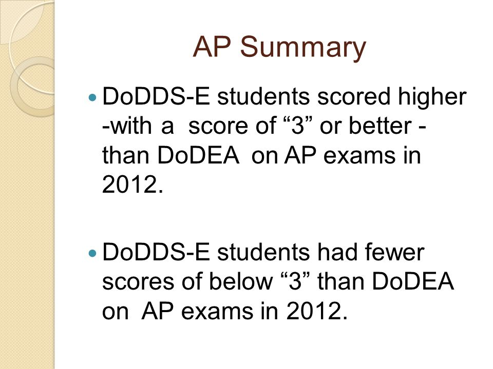AP Summary DoDDS-E students scored higher -with a score of 3 or better - than DoDEA on AP exams in 2012.