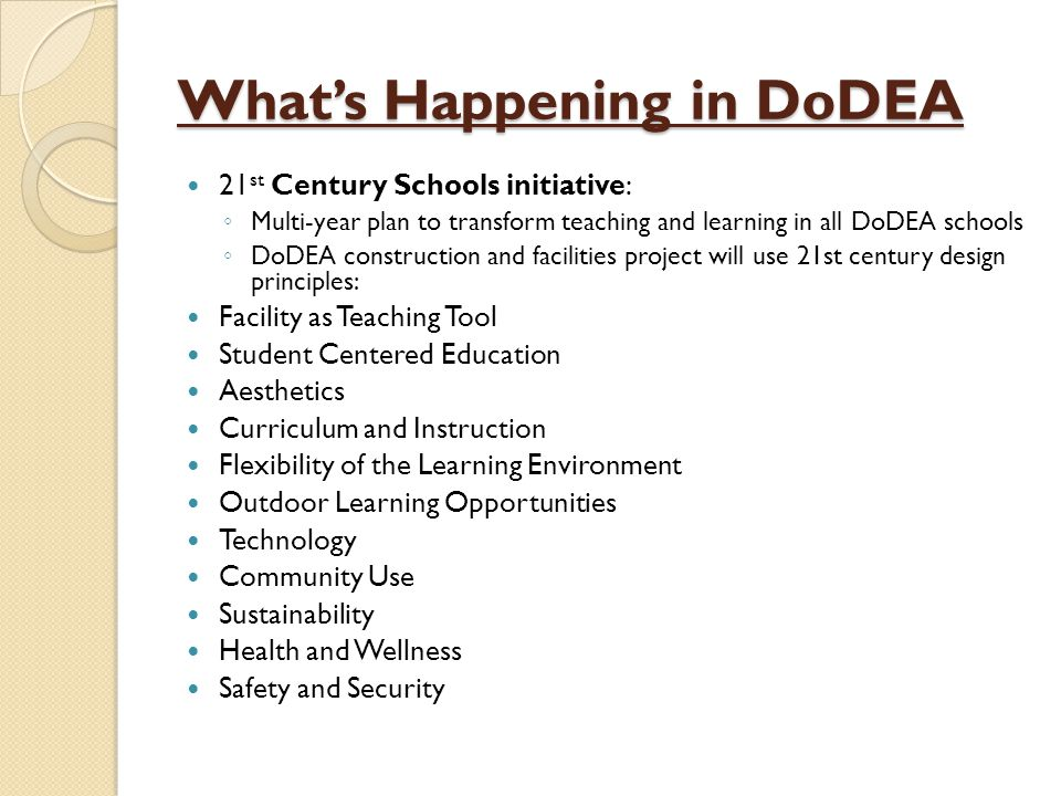 What's Happening in DoDEA