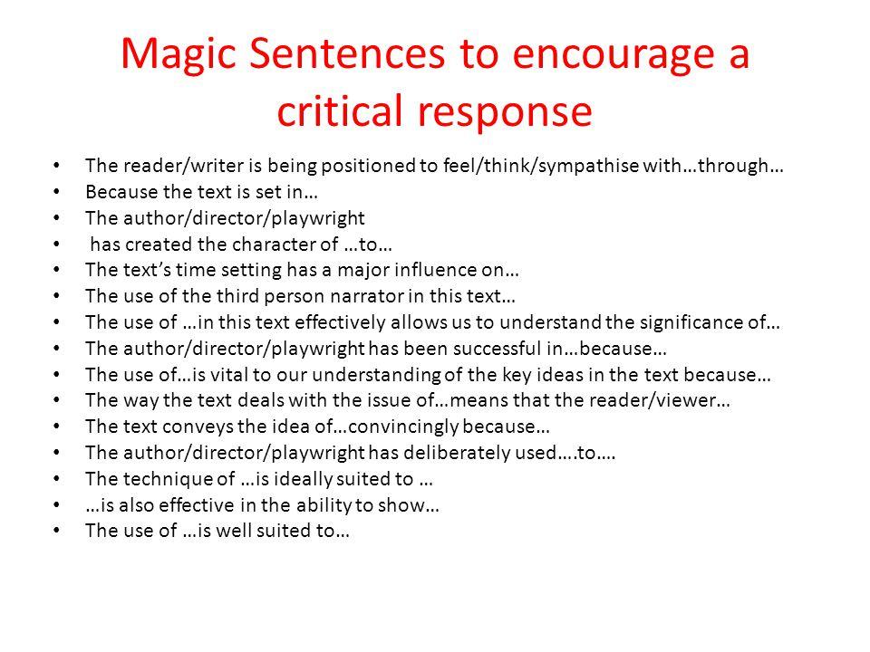 Magic Sentences to encourage a critical response