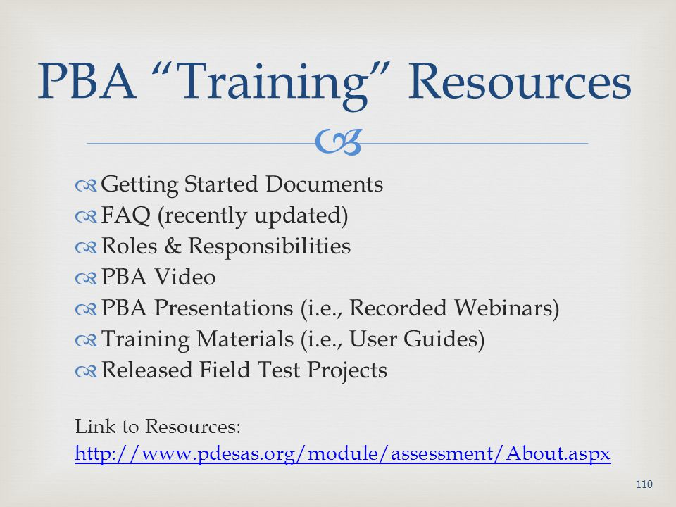 PBA Training Resources
