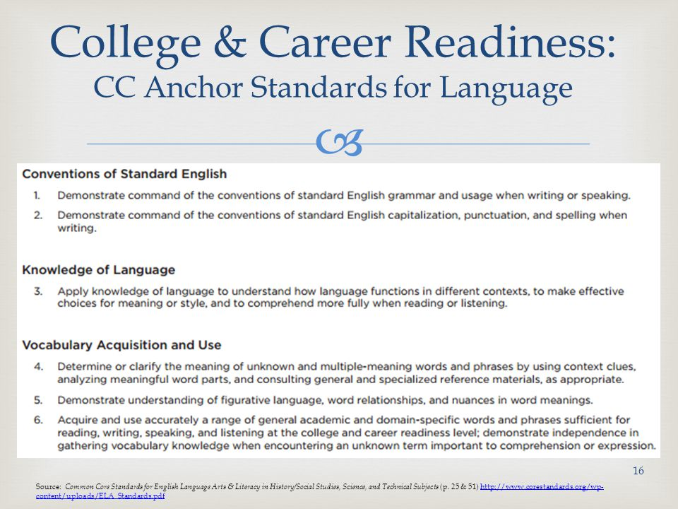 College & Career Readiness: CC Anchor Standards for Language
