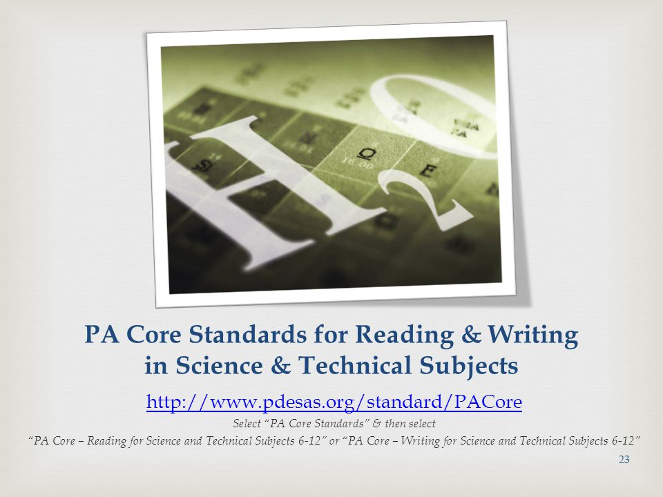 Select PA Core Standards & then select