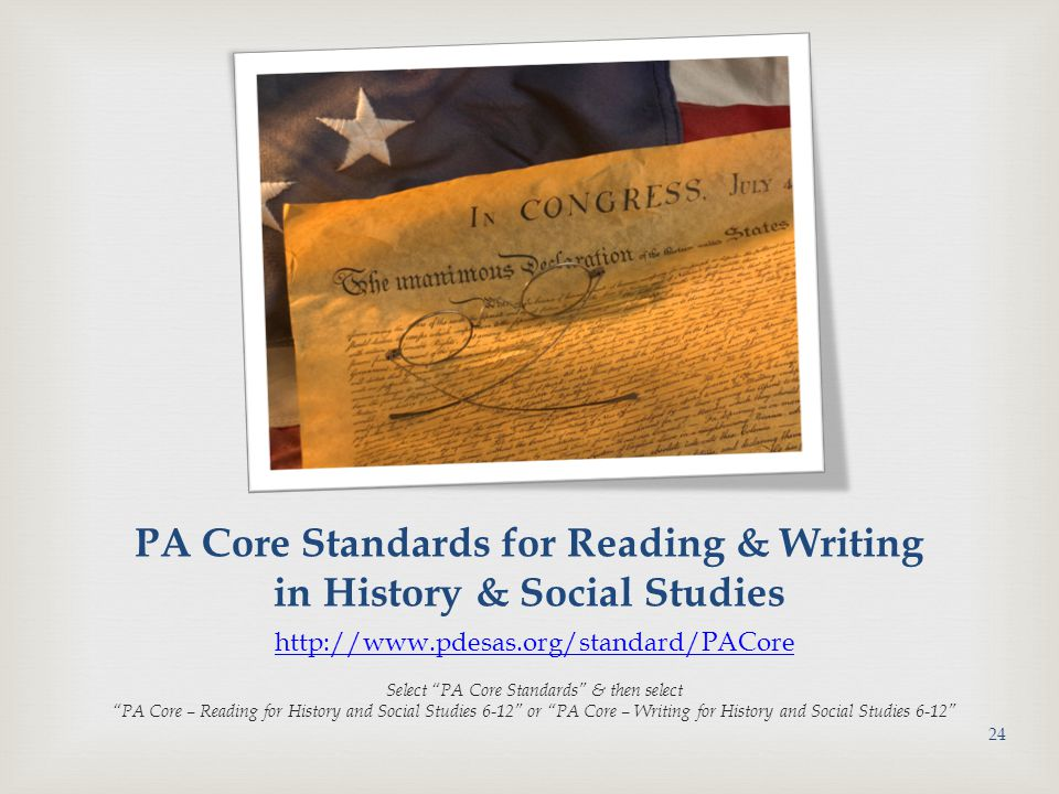 PA Core Standards for Reading & Writing in History & Social Studies
