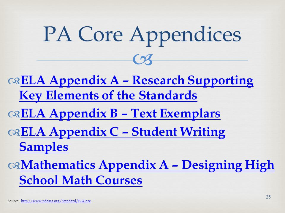PA Core Appendices ELA Appendix A – Research Supporting Key Elements of the Standards. ELA Appendix B – Text Exemplars.