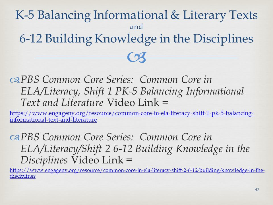 K-5 Balancing Informational & Literary Texts and 6-12 Building Knowledge in the Disciplines