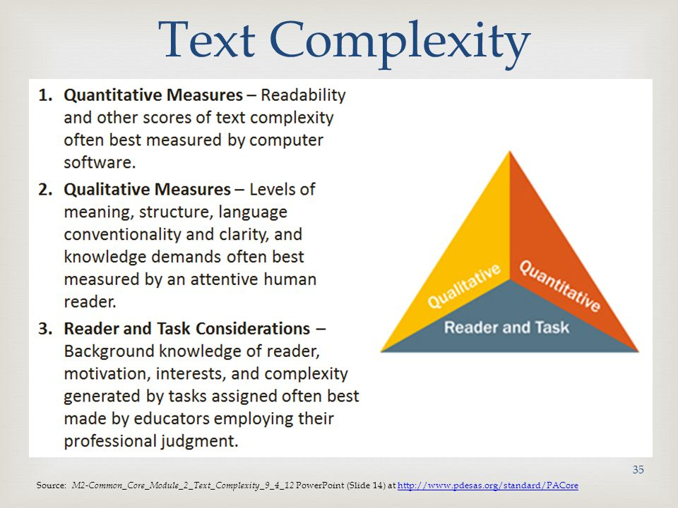 Text Complexity Source: M2-Common_Core_Module_2_Text_Complexity_9_4_12 PowerPoint (Slide 14) at http://www.pdesas.org/standard/PACore.