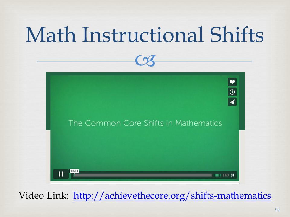 Math Instructional Shifts