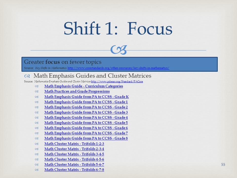 Shift 1: Focus Greater focus on fewer topics