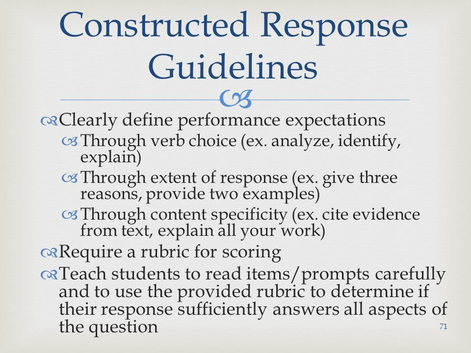 Constructed Response Guidelines
