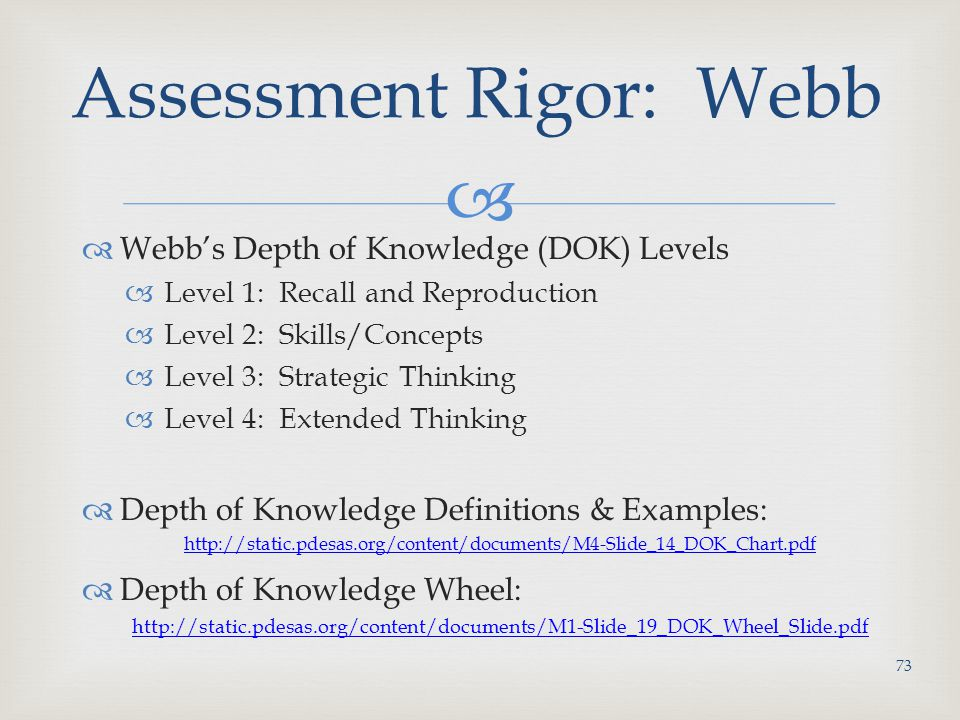 Assessment Rigor: Webb