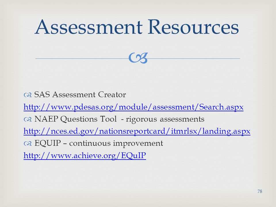 Assessment Resources SAS Assessment Creator
