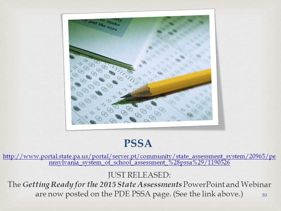 are now posted on the PDE PSSA page. (See the link above.)