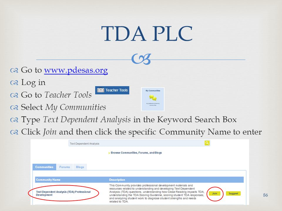 TDA PLC Go to www.pdesas.org Log in Go to Teacher Tools