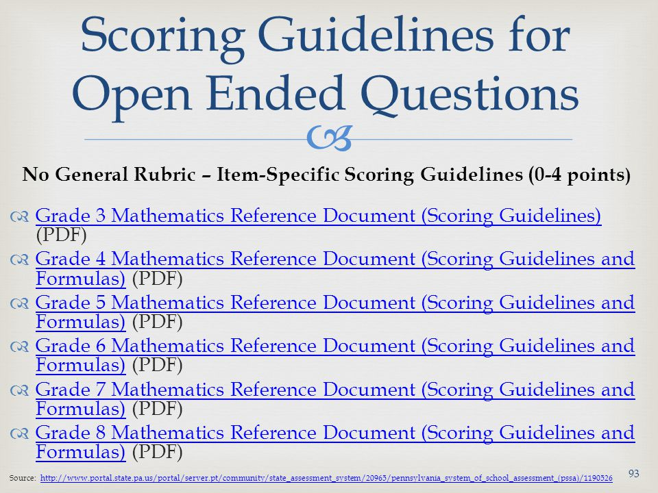 Scoring Guidelines for Open Ended Questions