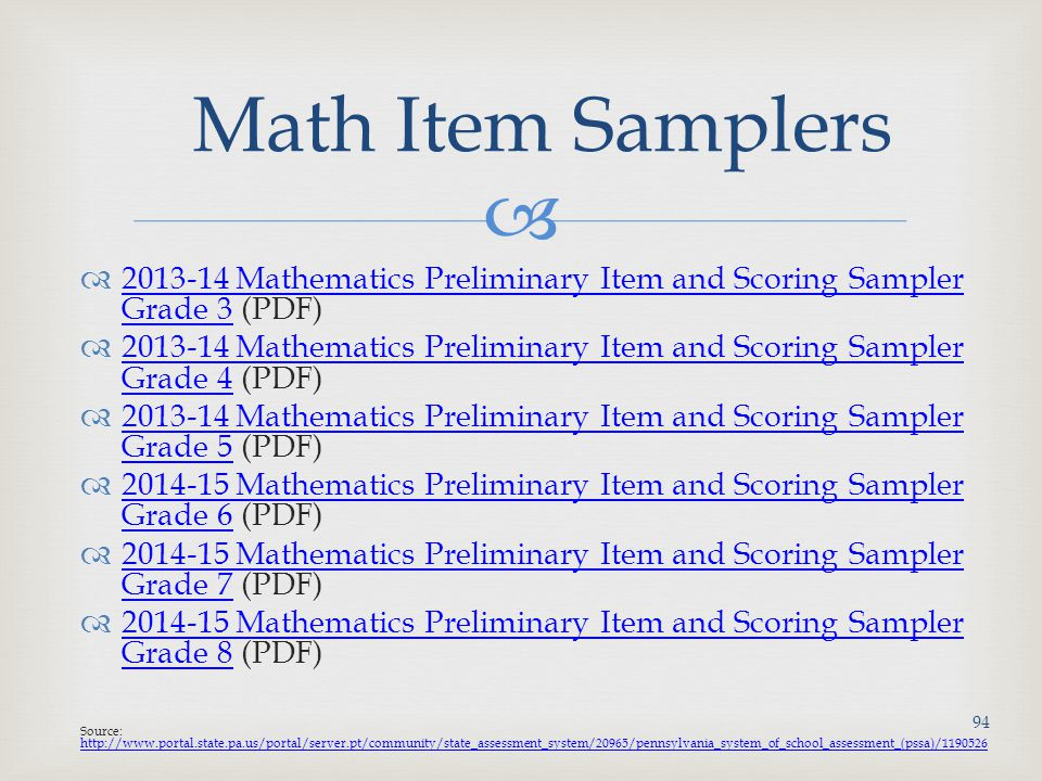 Math Item Samplers 2013-14 Mathematics Preliminary Item and Scoring Sampler Grade 3 (PDF)