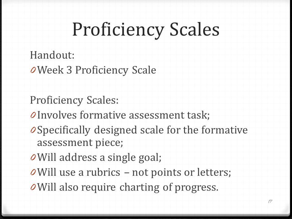 Proficiency Scales Handout: Week 3 Proficiency Scale
