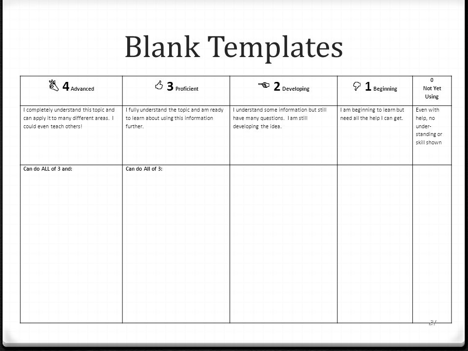 Blank Templates  4 Advanced  3 Proficient  2 Developing