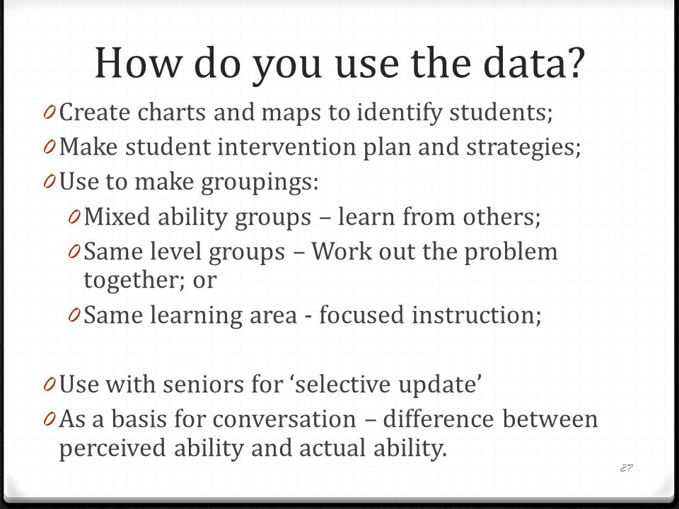 How do you use the data Create charts and maps to identify students;