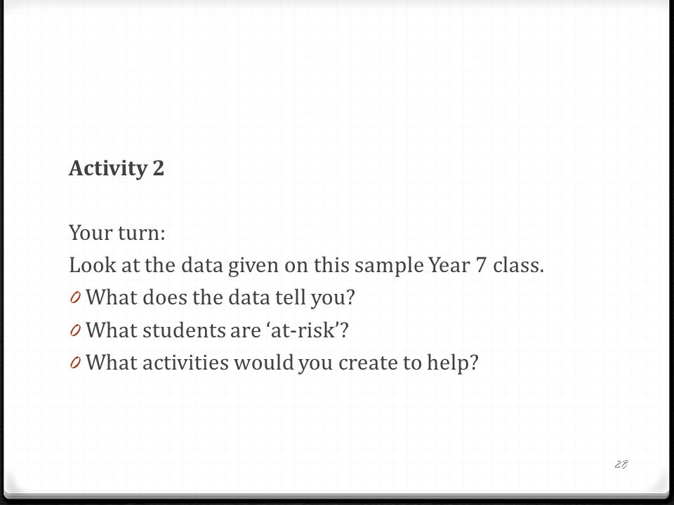 Activity 2 Your turn: Look at the data given on this sample Year 7 class. What does the data tell you