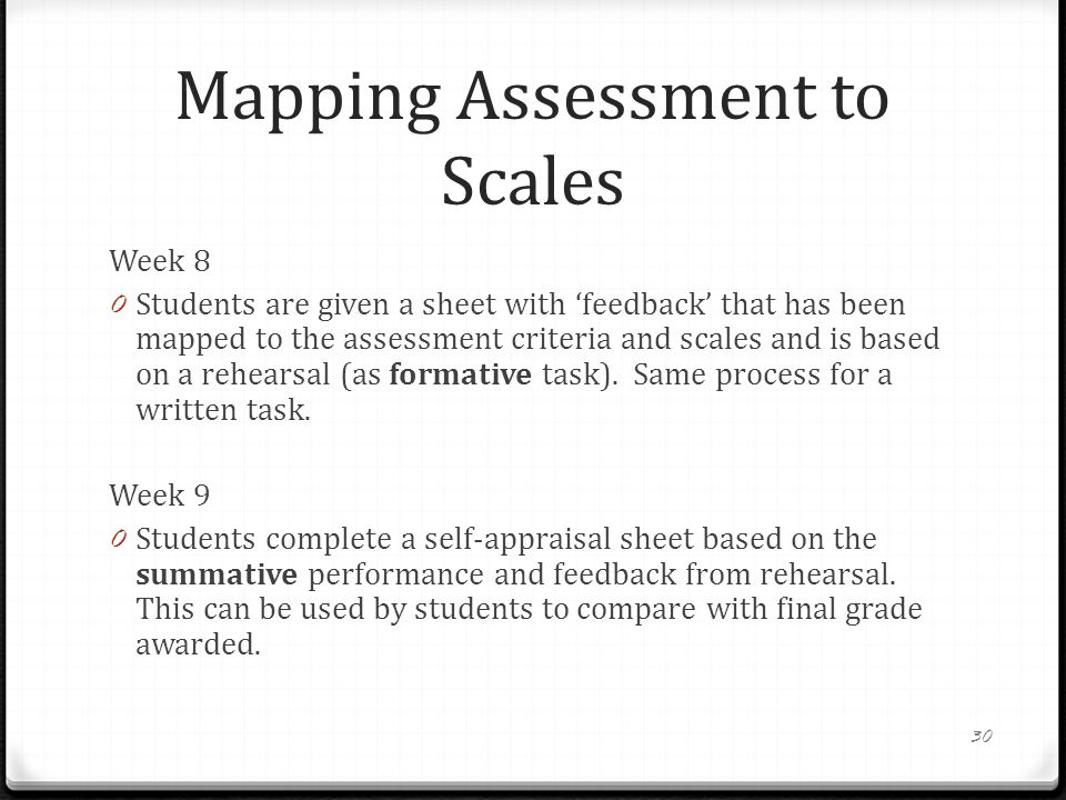 Mapping Assessment to Scales
