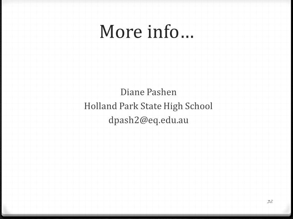 Diane Pashen Holland Park State High School dpash2@eq.edu.au